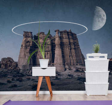 Desert at night with big rock wall mural. Desert a night, big tall rock in the middle. You get the moon and typical desert type plants.