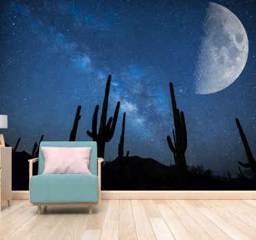 Original landscape wall mural Desert moon and cactus to bring dazzling beauty to your home setting.  Don't wait any longer and order yours now!