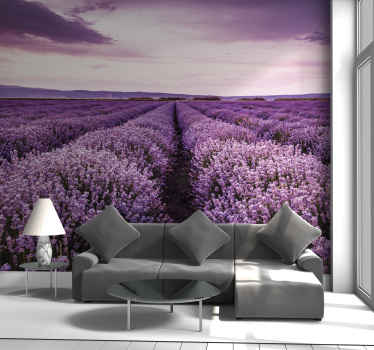 Purple flowers meadow wall mural for your home. Create an amazing atmosphere on your space with this amazing product. Made of quality material.