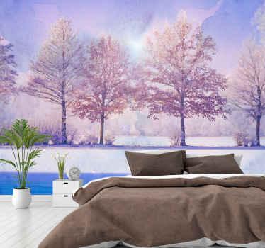Fototapeta s ilustráciou krajiny zamrznutých stromov s krásnym jazerom, ktoré tomuto miestu dodá pocit pokoja a mieru.