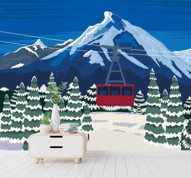 Táto krajinná tapeta, ktorá sa skvele hodí nielen na zimu a na vianoce, premení vašu obývaciu izbu na relaxačné miesto pre celú rodinu