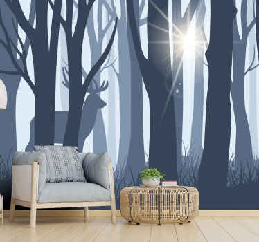This design illustrates a silhouette reindeer and trees landscape wall mural adds a natural breeze and style to your home, with its dark blue tones.