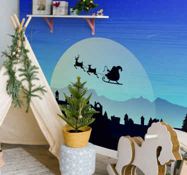 Our living room wall mural with silhouette buildings and trees is the right decoration element for this Christmas! Add it to cart!