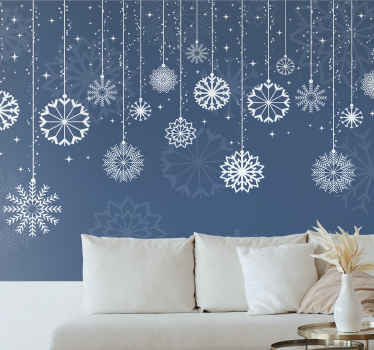 here we have for you a special solution: our amazing lounge wall mural featured with white snowflakes on a blue background.