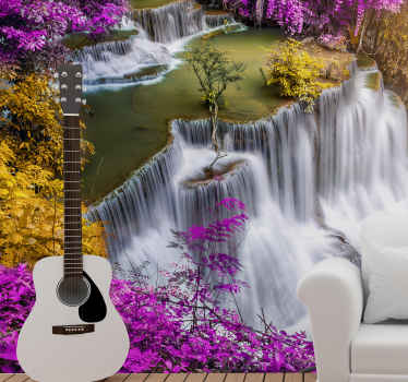 Mystic pink Waterfall Wall Mural. Double waterfall with fairy-like aesthetics, trees, and pink and yellow flowers. Extremely long-lasting material.