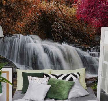 φέρτε τη φύση στο σπίτι σας με αυτήν την εκπληκτική τοιχογραφία του καταρράκτη! μετά από μια κουραστική μέρα, επιστρέφετε στο σπίτι και βλέπετε το τροπικό δάσος στο σαλόνι σας.