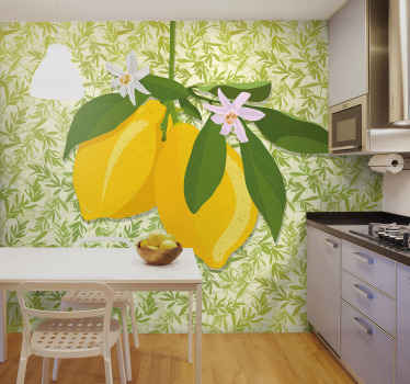 What a charming flower and fruit wall mural for kitchen decoration. Your space would be looking super amazing with this product.