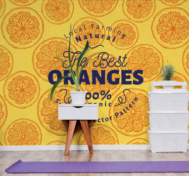 Orange hand drawn pattern phrase wall mural - This wall mural would make your space look really beautiful, brilliant and attractive.