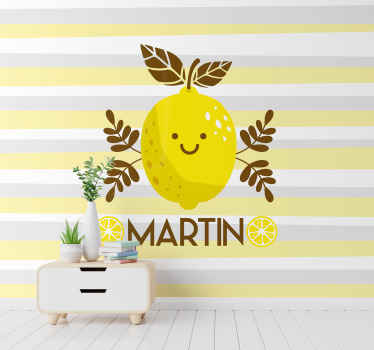 A lovely and friendly children bedroom smiling lemon wall mural.  It is personalisable with any name of your choice and you would definitely love it .