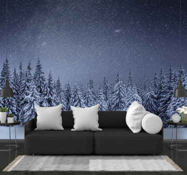 White trees, snow and dark blue sky on a photo wall mural! It is a beautiful way to express your love for winter! Home delivery available.