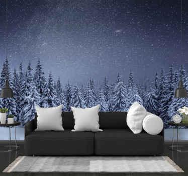 λευκά δέντρα, χιόνι και σκούρο γαλάζιο ουρανό σε μια τοιχογραφία φωτογραφιών! είναι ένας όμορφος τρόπος να εκφράσεις την αγάπη σου για το χειμώνα! διαθέσιμη παράδοση στο σπίτι.