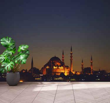Αυτή η μαγική τοιχογραφία τοπίων με μια εικόνα ενός τζαμιού τη νύχτα θα μετατρέψει το σαλόνι σας σε ένα μαγικό μέρος. διαθέσιμη παράδοση στο σπίτι.