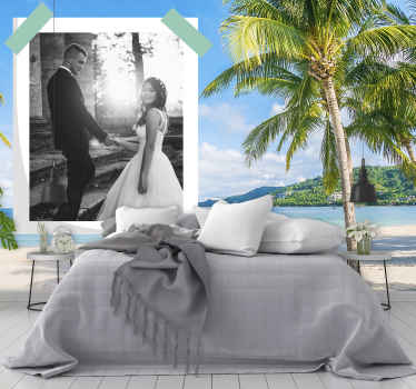This beautiful landscape wall mural is a perfect gift for your loved one. Sunny, exotic beach with a space for your chosen photo! Home delivery!