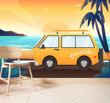 Take a look at this cool kids wall mural illustrating summer beach with tall palm trees and a yellow caravan! Home delivery available.