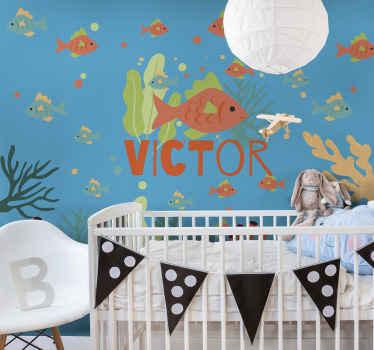 Papier peint mural de chambre à coucher avec illustration de poisson et de corail de conception de vie marine avec un texte de nom personnalisable