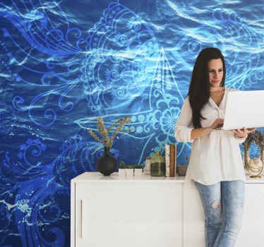 Blue Photo Wallpaper with ornamental design of sea life illustrating water and blue color that will bring an atmosphere of peace to your house.