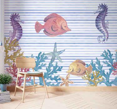 Increíble fotomural animal bajo el mar con caballitos de mar, peces, hierba y arena, en suaves colores pastel ¡Envío gratis!