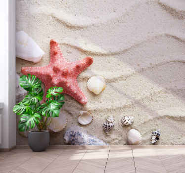 Beautiful starfish and shells on sand animal wall mural. The design appears real and very lovely. Produced with quality material and durable.