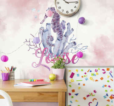 Beautiful children's bedroom wall mural with a watercolour seahorse in delicate, pink colours with your chosen name. Choose the size!