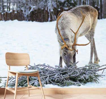Vakkert bilde av et reinsdyr i snø og en skog i bakgrunnen som et veggmaleri i landskapet vil gi magi og vinterfølelse til hjemmet ditt!