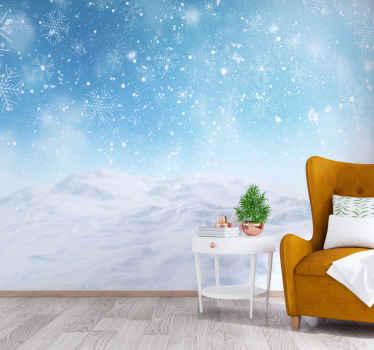 снежинки на синем пейзаже зимняя страна чудес фотообои. Создайте чудесную рождественскую атмосферу в любом помещении с помощью этой удивительной фрески.