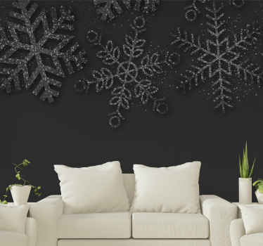 Black snowflakes Christmas wall mural - Simple Christmas wall mural to decorate any wall space in a house. Made of quality material and durable.