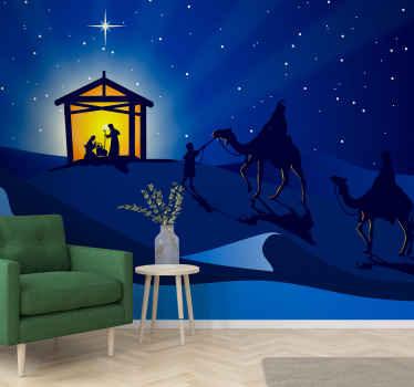 мы покрыли ваше рождественское украшение нашей большой настенной росписью с рождественским вертепом. Рождественский дизайн иллюстрация рассказывает историю Рождества.