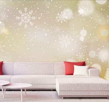 Kış ve harikalar diyarından ilham alan bu oturma odası duvar resmine bir göz atın! Beyaz kar tanesi dolu sofistike şampanya renginde!