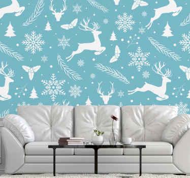 новогодние фотообои с синими и белыми узорами, на которых изображены олени, снежинки, елки и т. д.