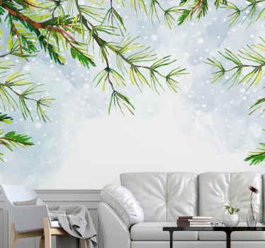 Noel ağacı dalları ve karlı, serin arka plana sahip bu doğa duvar resmi, evinizi tüm yıl boyunca serin ve şık tutacak. Eve teslim!