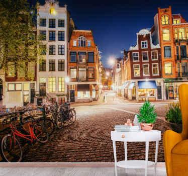 伝統的なオランダの建物や自転車が並ぶアムステルダムの街並みに着想を得た、彼の美しい風景の壁画をご覧ください。宅配!