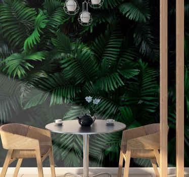 Beau papier peint nature plein de feuilles de la forêt tropicale dans des couleurs vertes profondes et riches. Application anti-bulle