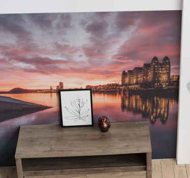 ρίξτε μια ματιά σε αυτήν την φανταστική τοιχογραφία με φωτογραφίες εμπνευσμένη από ένα πολύχρωμο ηλιοβασίλεμα στον ποταμό στο Όσλο το βράδυ. διαθέσιμη παράδοση στο σπίτι!