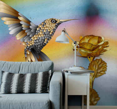 Bu fantastik tasarımlı sinek kuşları ve altın çiçekler doku duvar resmi ile doğayı evinize getirin, eve teslim ile çevrimiçi satın alın!