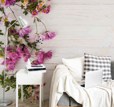 Nature wall mural with an illustration of pink flowers on a wood effect background is great for renewing the look of the walls.