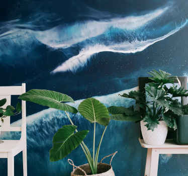 Wall mural with the illustration of many ocean waves in water color, this beautiful design is perfect to give an atmosphere of peace and tranquility.