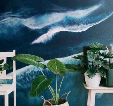 Zidni zid s ilustracijom mnogih oceanskih valova u vodenoj boji, ovaj prekrasan dizajn savršen je za stvaranje atmosfere mira i tišine.