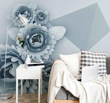 Cvjetni zidni mural s ilustracijom plavog cvijeća geometrijskih oblika idealan za ukrašavanje zidova vaše dnevne sobe, spavaće sobe itd.