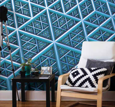 Modern mural wallpaper design with Geometric 3d with triangles with blue color that will fill with a super modern and original atmosphere the room.
