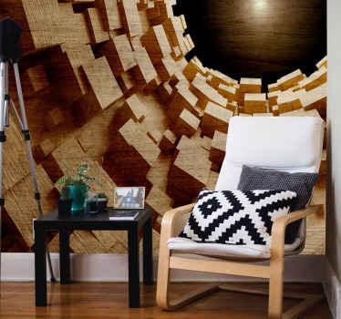視覚効果木製トンネル壁画-圧倒的な存在感であらゆる空間を飾るための驚くべきスリリングな大きな壁壁画デザイン。