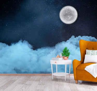 Oblaci u apstraktnim zidnim freskama u zvjezdanoj noći - možete zamisliti količinu ljepote i spokoja koji bi ovaj veliki zidni freska ugradio u vaš prostor.