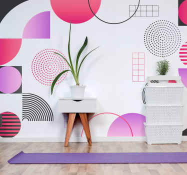 If you are looking to present a colorful atmosphere on a space then this large geometric colorful art wall mural should be considered.