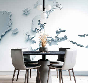 3D effect world map wall mural - An amazing large wall mural for office, for living room and other common spaces. It is made of quality and durable.