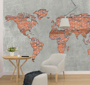 Brick effect colorful world map 3D wall mural - What an amazing design to transform and refurbish any space. Manufactured with quality material.