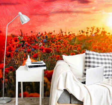 Gorgeous poppy field on a nature wall mural in the colours of a sunset. Deep red flowers in a field with a red sky on your walls! Must buy!