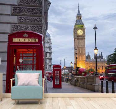 Ovaj pejzažni zidni zid predstavlja prekrasnu sliku poznate ceste u londonu s big benom i popularnom telefonskom govornicom. Dostupna kućna dostava!