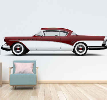 "Awesome vintage mural ""red classic car"" perfect for decorating everywhere at home and office.