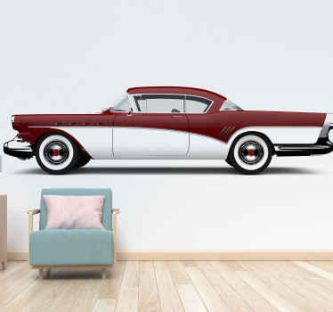 """Minunată pictură murală de epocă """"mașină clasică roșie"""" perfectă pentru decorarea peste tot acasă și la birou. Ia-l pe al tău acum! Livrare la domiciliu! Autocolante personalizate."""