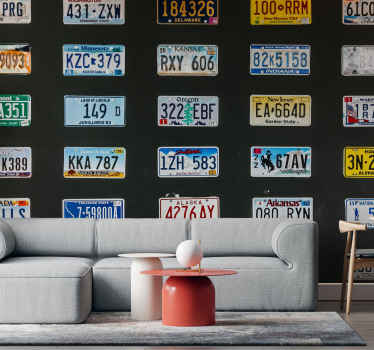 License plates vintage wall mural for living room and other places of interest. The large wall mural host deign of different license plates