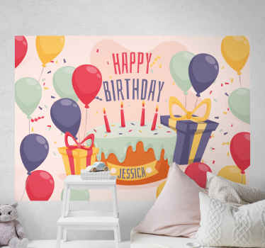 This very beautiful looking happy birthday wallmural product will last a very long time in your home! Worldwide delivery is available!